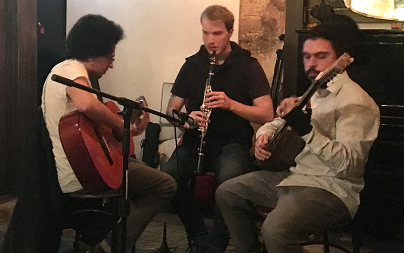 Silk Roads Trio performing at Claypots Seafood Bar - Aug 2019
